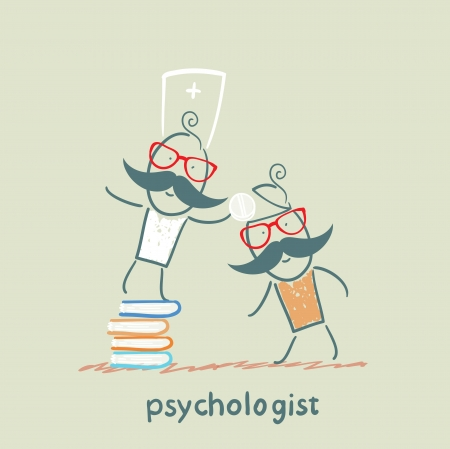 psychologist: ??????psychologist is on a stack of books and gives the patient a tablet