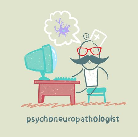 cellule nervose: psychoneuropathologist si siede sul posto di lavoro al computer e il pensiero delle cellule nervose