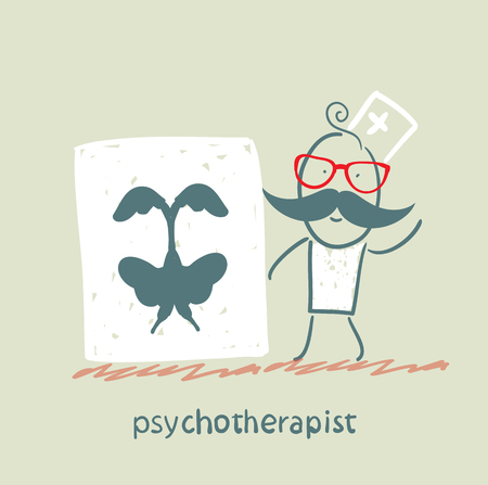 psychotherapist  shows a picture test Illustration