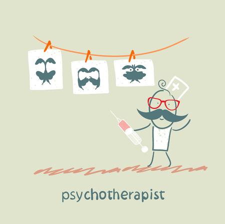 terapia psicologica: psicoterapeuta muestra una prueba de imagen y de pie con una jeringa