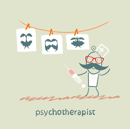neurosis: psychotherapist  shows a picture test and standing with syringe Illustration