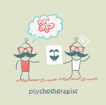 psychoanalysis: psychotherapist  shows the patient image test