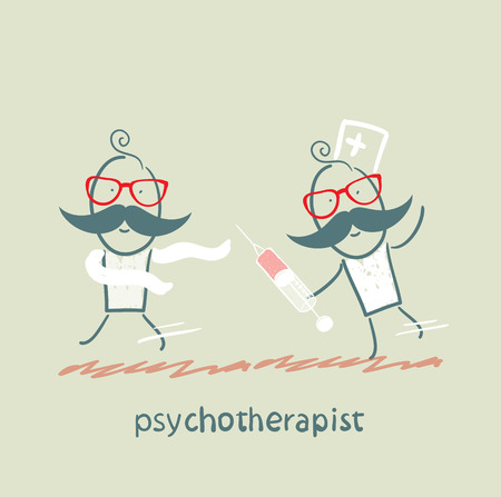 neurosis: psychotherapist  with a syringe catching up with the crazy