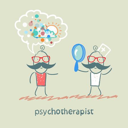 psychotherapeut kijken door een vergrootglas op een patiënt die droomt Stock Illustratie