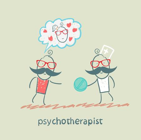 neurologist: psychotherapist  gives the patient a pill