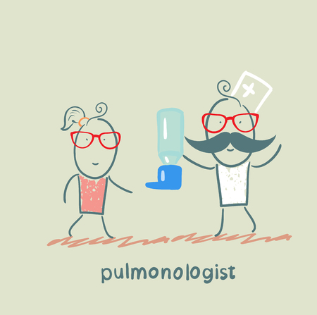 pulmonology: pulmonologist gives spray for asthma patients Illustration