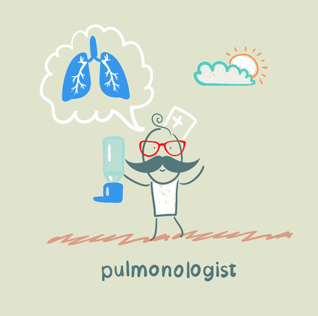 lung disease: pulmonologist pulmonologist with asthma spray says lung
