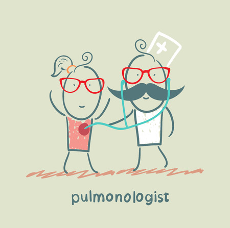 internist: pulmonologist listens to the patient lungs