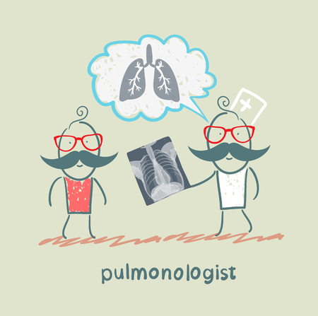 pulmonologist, chest X-ray shows a patient Vector