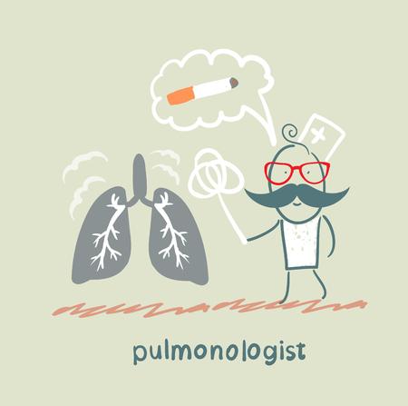 poumon humain: pneumologue frappe la poussi�re de poumon humain Illustration