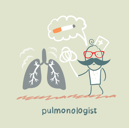 internist: pulmonologist knocks dust from the human lung Illustration