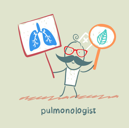 internist: pulmonologist holding posters with the image of the lungs Illustration