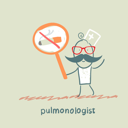 pulmonology: pulmonologist holding posters with a picture of a cigarette