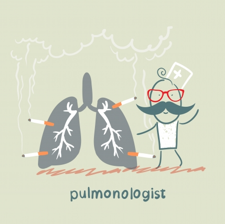 pulmonology: pulmonologist with light smoker