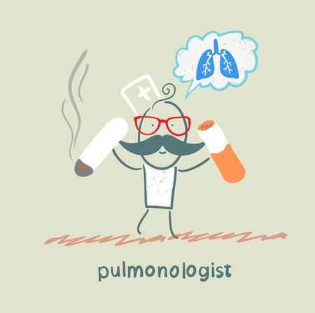 internist: pulmonologist spoils cigarette Illustration