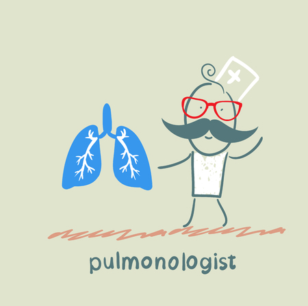 pulmonologist is standing next to a person's lungs Vector