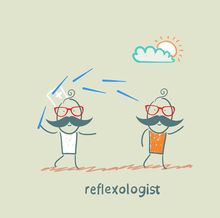 neurologist: reflexologist works with a patient with needles