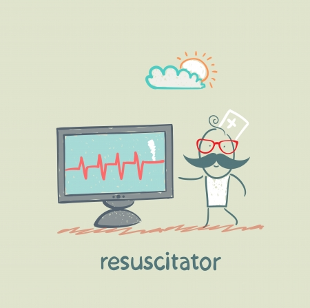 chest compression: resuscitation is a monitor shows the heartbeat Illustration