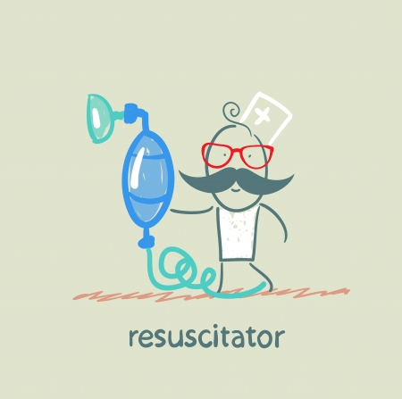 chest compression: resuscitation with oxygen mask Illustration