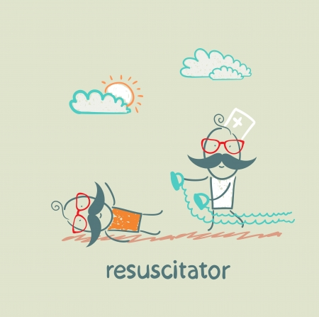 resuscitation in a hurry to sick patient Иллюстрация