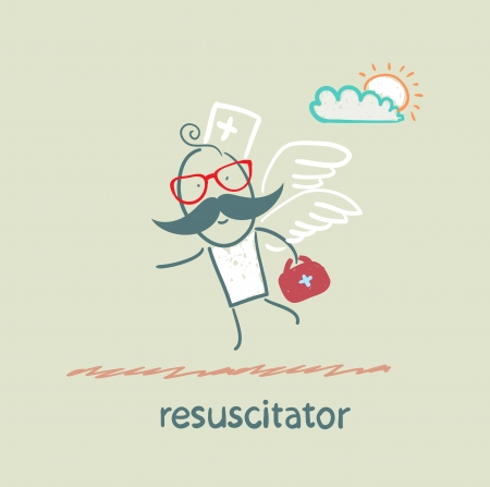 resuscitator flies to the patient Illustration