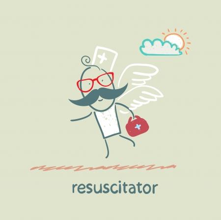 resuscitator flies to the patient 矢量图像