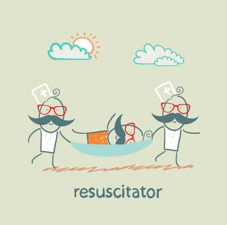 cardiopulmonary: resuscitator carry on a stretcher patient