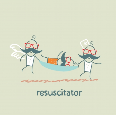chest compression: resuscitator carry on a stretcher patient