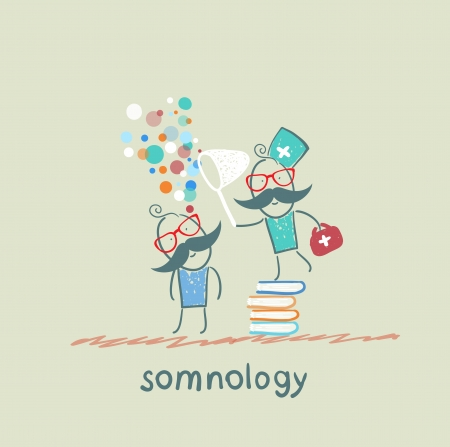 cushions: somnology standing on a pile of books and dreams of catching a butterfly net patient