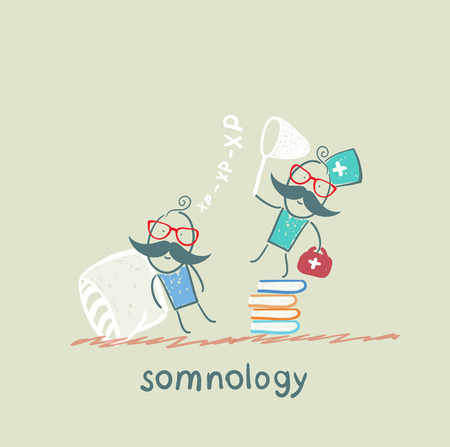 somnology standing on a pile of books and catches the patients snoring Vector