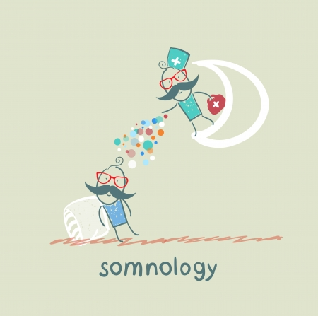 somnology standing on the moon and throws multicolored medication to a patient who is sleeping Stock Vector - 22661849