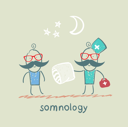somnology gives the patient a sleep pillow Stock Vector - 22661852