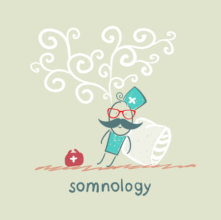 somnology fell asleep and he dreams Vettoriali