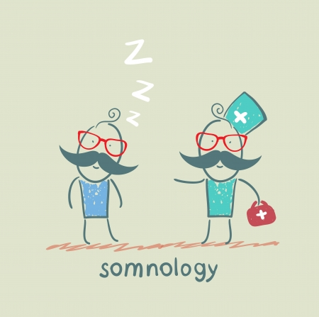 apnea: somnology come to a patient who is sleeping Illustration