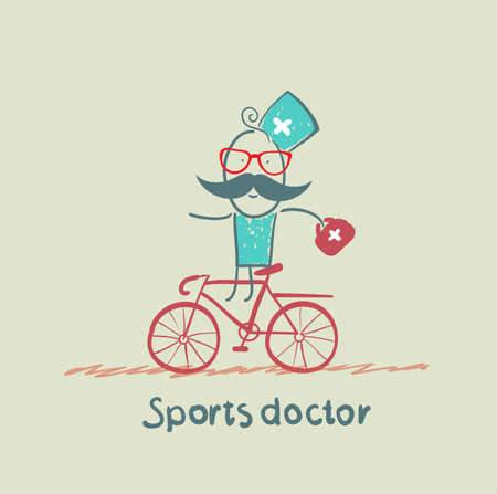 expressing positivity: Sports doctor rides a bicycle Illustration