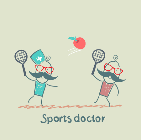 Sports doctor plays with a man in badminton apple Illustration