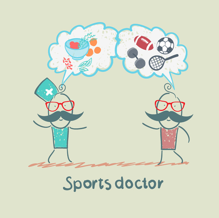 Sports Doctor Speaks To Man Of Sport And Healthy Food Royalty Free ...