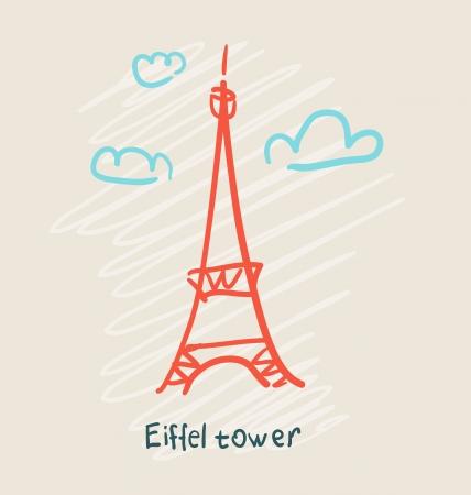 sketch: Eiffel Tower icon Illustration