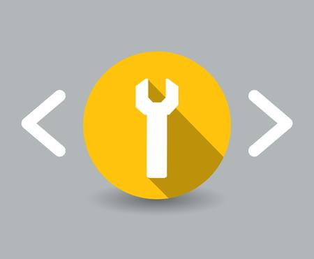 flat design wrench icon photo