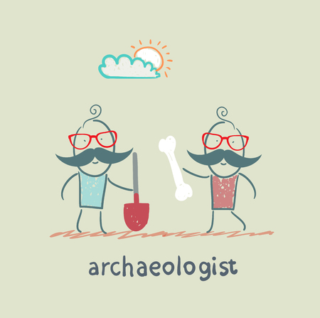 archaeologist: archaeologist holding a shovel and another archaeologist has bone