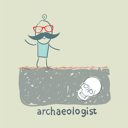 archaeologist: archaeologist stands on the site where the skull buried