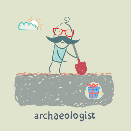 archaeologist: archaeologist stands on the spot where buried gift