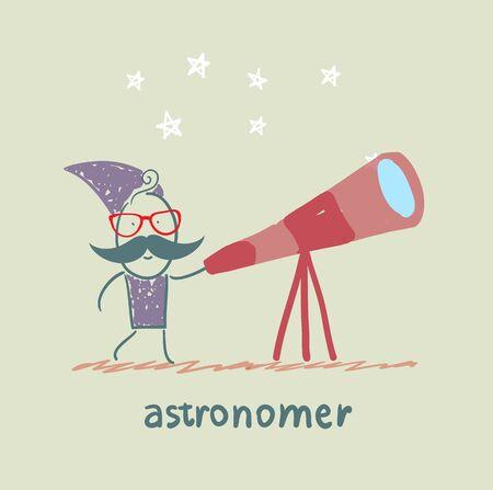 astronomer: astronomer looking through a telescope