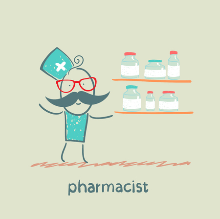 Pharmacist standing next to a shelf on which medicines