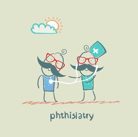 alveolos pulmonares: estetoscopio phthisiatry escucha al paciente