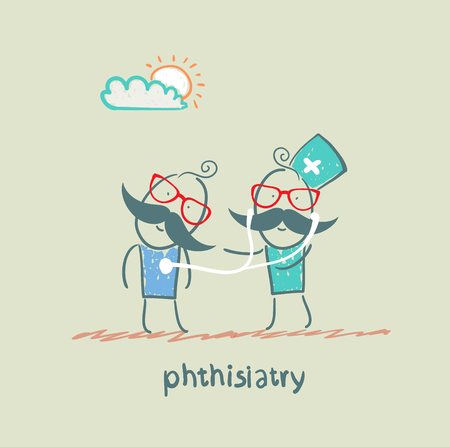 pathogenesis: phthisiatry stethoscope listens to the patient
