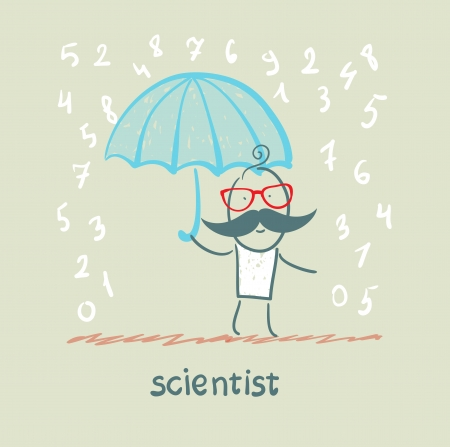 Scientist holding an umbrella from the rain with numbers Stock Photo - 22921219