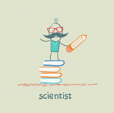 scientist holding a pencil and stands on a pile of books Stock Photo - 22921222