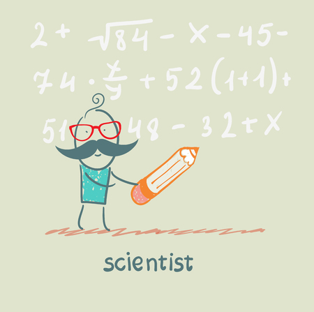 scientist holding pen writes equation Stock Photo - 22921221