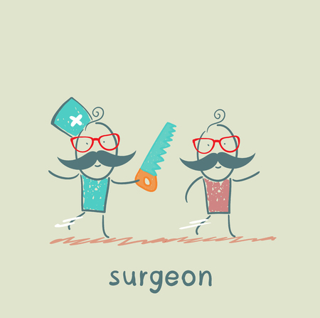 surgical nurse: surgeon runs a chain saw for the patient